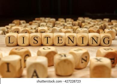 Listening word written on wood block