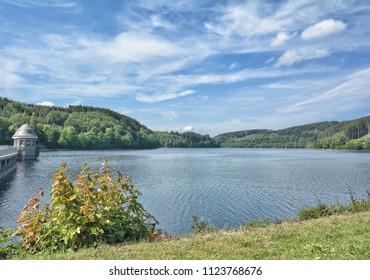 Listertalsperre Reservoir in Sauerland with Dam between Lister and Biggesee Reservoir,North Rhine westphalia,Germany
