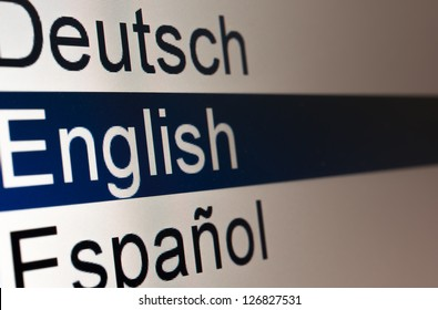 Lists of languages on the computer screen