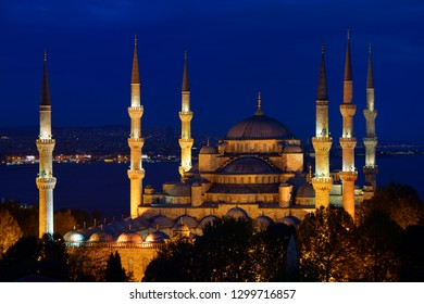 Lit Blue Mosque at twilight on the Bosphorus Sultanahmet Istanbul Turkey