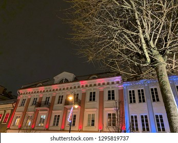 Lit Up Buildings And Tree On A Winter Night In Old Town Vilnius, Lithuania