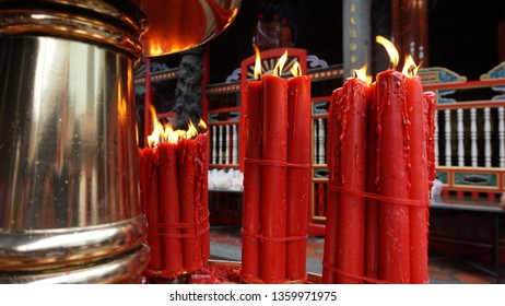 Lit up candle light at a Longshan Temple, Taipei