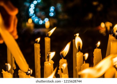 Lit up Candles to honor and remember the dead loved ones during all Soul's Day