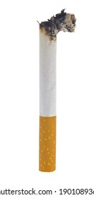 Lit cigarette with ash isolated on a white background close-up. Full focus. Detail for design. Design elements. Macro.