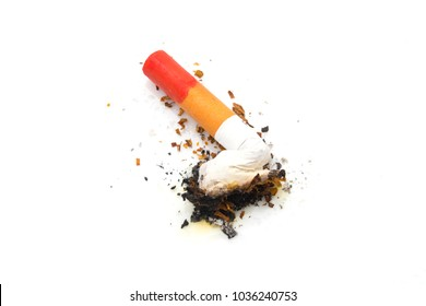 Lit Cigarette with Red Lipstick Stain on the Butt
