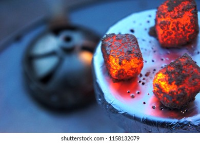 Lit coals for hookah, hookah tile, heat, fire, hot coals, hot hookah coals, Bowl with tobacco and coal