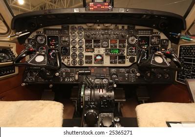 Lit instrument-panel of a Beech 1900D
