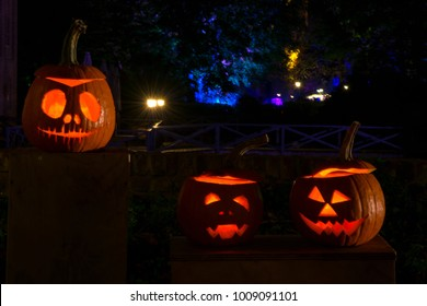 Lit jack-o'-lanterns during halloween.