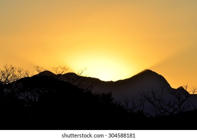 Lit Mountains at Joinville, Brazil