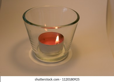 Lit Red Tea Light