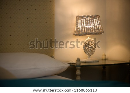 Lit White Bedroom Lamps Beautiful Ornaments Stock Photo (Edit Now ...
