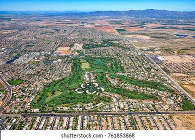 Litchfield Park Park, Arizona aerial view looking west with the White Tank Mountains in the distance