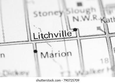 Litchville. North Dakota. USA on a map.