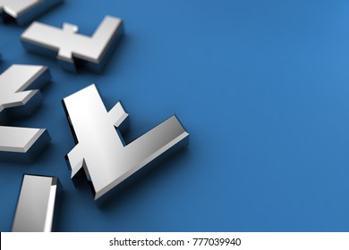 Litecoin 3D illustration concept with silver Litecoin symbols over blue background