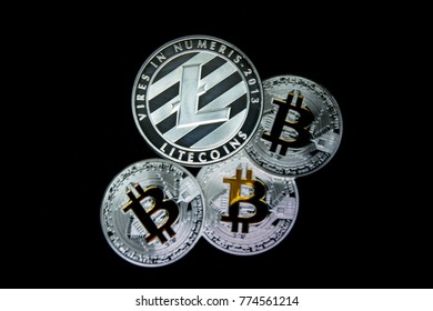 A Litecoin above defocused Bitcoins