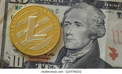 Litecoin crypto currency coin with US dollar