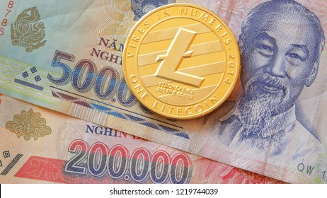 Litecoin crypto currency coin with vietnamese dong