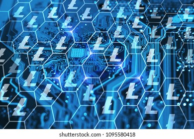 Litecoin crypto currency concept. Blockchain technology interface drawn on blue integrated circuit background.