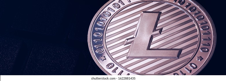 Litecoin cryptocurrency (crypto currency). Silver Litecoin coin with gold Litecoin symbol. Litecoin (ltc) cryptocurrency.