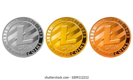 litecoin isolated; cryptocurrency physical litecoin coins (gold, silver, bronze) isolated on white background