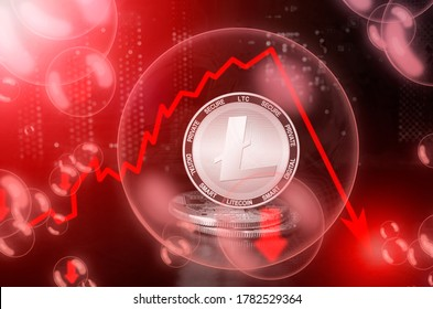 Litecoin LTC  coin in a soap bubble. Risks and dangers of investing to Litecoin. Collapse of the exchange rate. Unstable concept. Down drop crash bubble