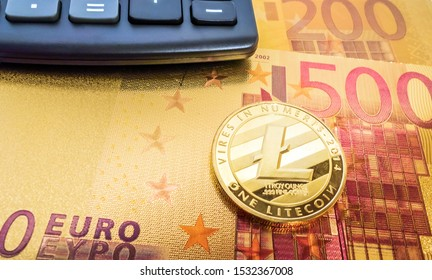 Litecoin LTC crypto currency blockchain Coin golden cryptocurrency pile euro banknotes. Mixed, media trade.