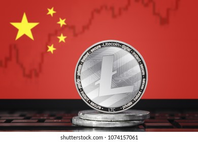 LITECOIN (LTC) cryptocurrency; coin litecoin on the background of the flag of CHINA