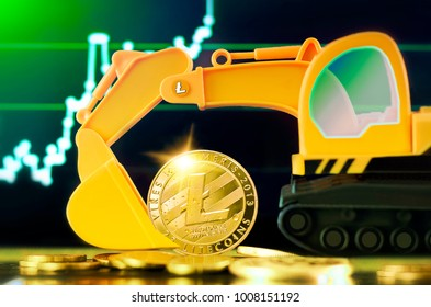 Litecoin mining concept. Miniature Excavator and Litecoin coins on the background of the forex chart.