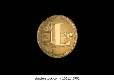 litecoin on black background with copy space. electronic money isolated