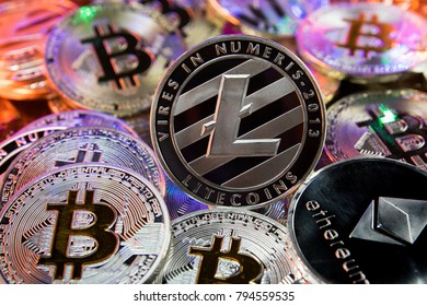 Litecoin on a pile of cryptocurrency