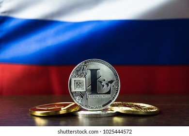 Litecoin and Russia Flag. Concept for investors in cryptocurrency and Blockchain Technology in Russia.