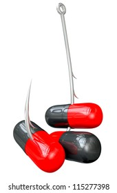A literal description of a metal fishing hook hooked onto three red and black medicine capsules on an isolated background