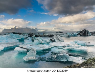 """Jökulsárlón; literally """"glacial river lagoon"""" is a large glacial lake heading the Breiðamerkurjökull glacier. It developed into a lake after the glacier started to recede from the Atlantic seaside"""
