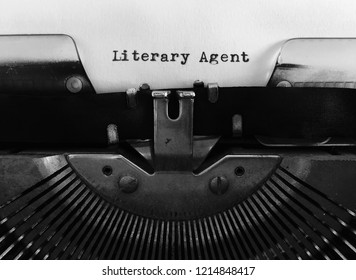 Literary Agent, occupation publishing title heading typewritten on vintage manual typewriter machine, monochrome black and white, blank space, author, writing and talent industry