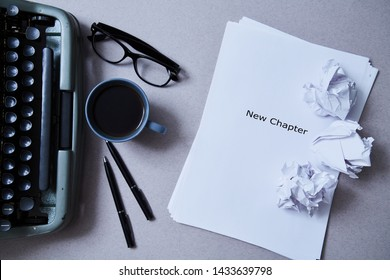 Literature, author and writer, writing and journalism concept: typewriter, cup of coffee and glasses and a paper