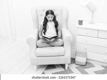 Literature concept. Literature reading. Little girl read book, literature. English literature