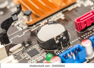 Lithium Button Cell Battery On Computer Motherboard