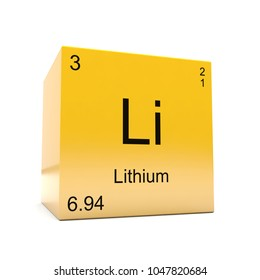 lithium chemical element symbol from the periodic table displayed on glossy yellow cube 3d render