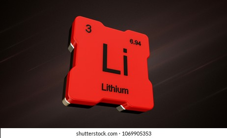 Lithium element number 3 from the periodic table on futuristic red icon and nice lens flare on noisy dark background - 3D render