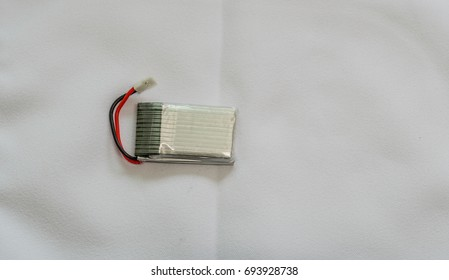 Lithium Polymer battery commonly used in drones on a white background