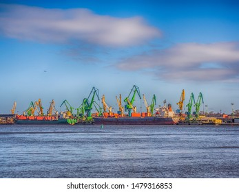 Kłaipeda, Lithuania - April 06, 2018: Klaipeda Port.  The port is one of the most important in Lithuania and sees ferry service from Sassnitz, Kiel and Karlshamn, Sweden.