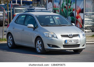 LITHUANIA - APRIL 22, 2019: Toyota Auris car. The Toyota Auris is a compact hatchback derived from the Toyota Corolla. Introduced in 2006.
