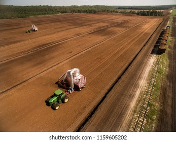 Jankūnai, Lithuania - August 19, 2018: peat farm in Lithuania/Lietuva.