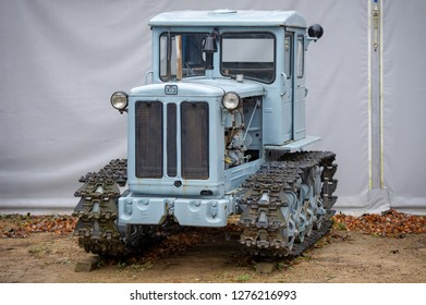 LITHUANIA - AUGUST 25, 2018: Arable tractor HTZ T-74 (Xt3). In 1962 the T-74 ploughing tractor went into production. The plant produced its millionth tractor in 1967.
