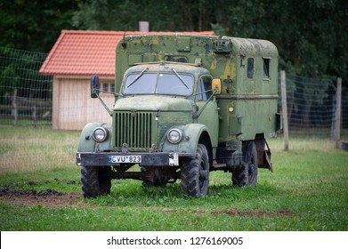 LITHUANIA - AUGUST 25, 2018: Old Soviet military truck GAZ-63. The GAZ-63 is a Russian 4x4 2 ton truck produced from 1948 to 1968 at the Gorky Automobile Plant.