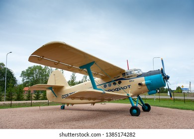 LITHUANIA, AUGUST 25, 2018. Old Soviet mass-produced airplane Antonov An-2. The Antonov An-2 is a Soviet mass-produced single-engine biplane utility/agricultural aircraft by the Antonov Design Bureau.