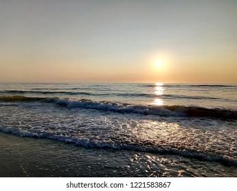 Lithuania Baltic Sea Sunset Waves
