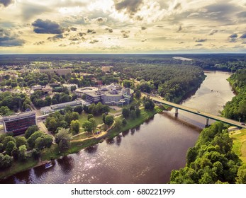 Lithuania, Baltic States: aerial UAV view of Druskininkai, a spa town on the Nemunas river