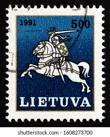LITHUANIA - CIRCA 1991: A stamp printed in Lithuania shows state arms, Vytis, circa 1991.