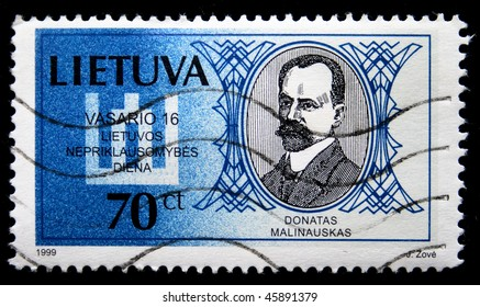 Lithuania - CIRCA 1999: A stamp printed in Lithuania shows  Donatas Malinauskas, circa 1999
